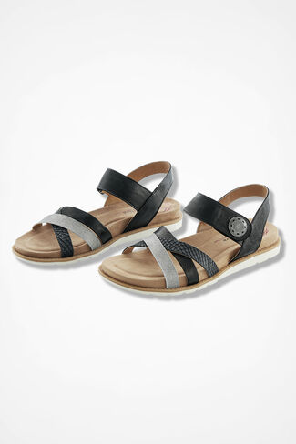 """""""Alonsa"""" Leather Sandals by Comfortiva®, Black, large"""