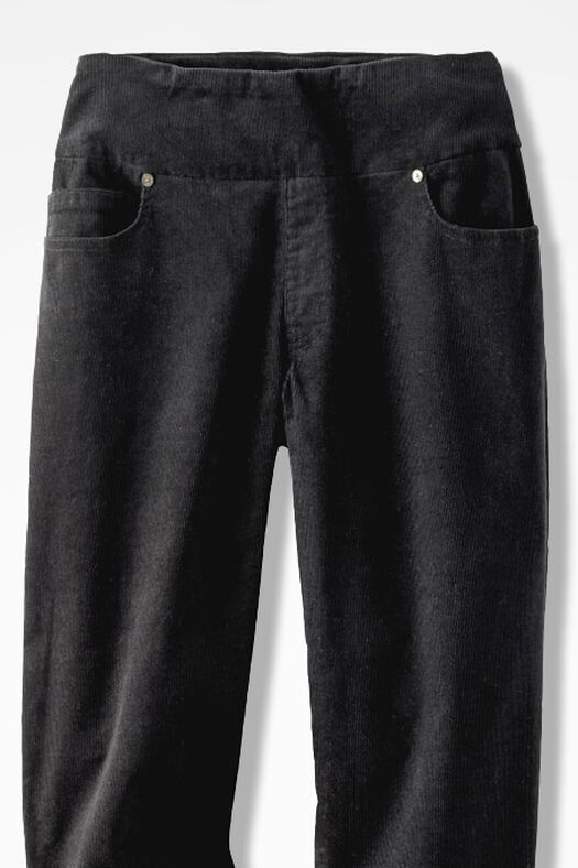 Pinwale Pull-On Stretch Corduroys, Black, large