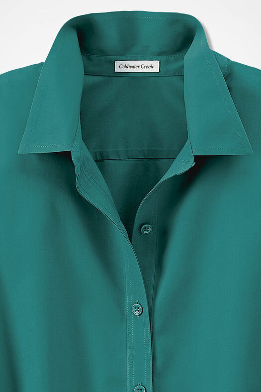 Three-Quarter Sleeve Easy Care Shirt, Emerald, large