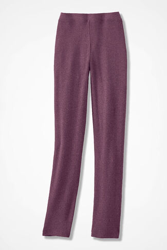 Wonder-Soft Ribbed Brushed Knit Pants, Heather Mulberry, large