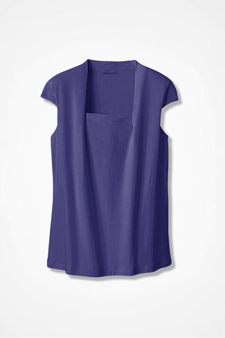 Anytime Square Neck Tank, Deep Thistle, large