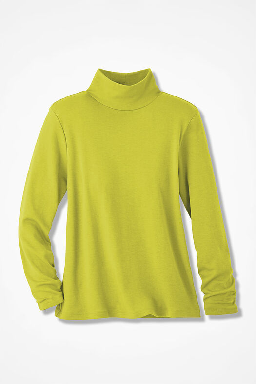 Essential Supima® Stand-Neck Tee, Citron, large