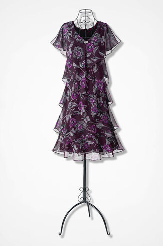 Nightfall Floral Tiered Dress, Midnight Violet, large