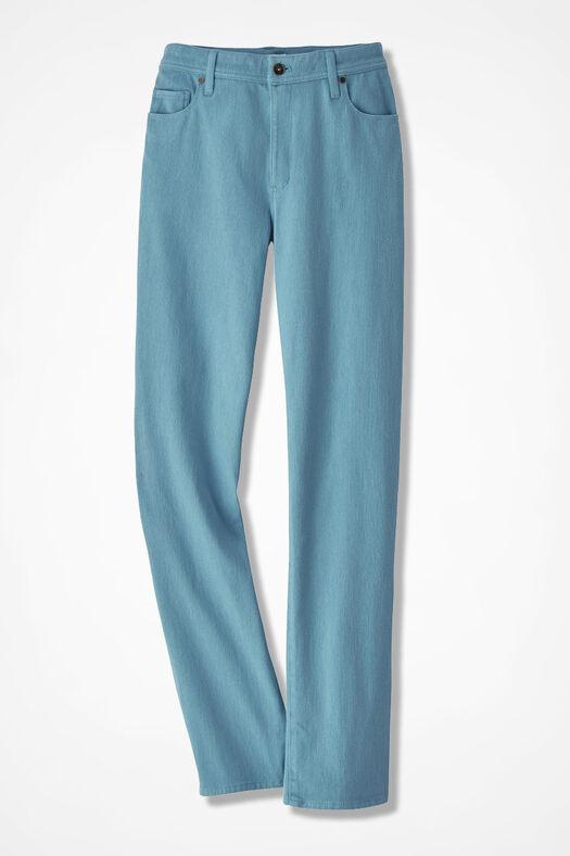 Knit Denim Straight-Leg Jeans, Robins Egg, large