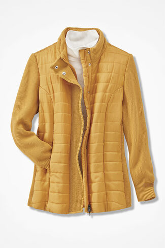 Knit Trim Quilted Puffer, Saffron, large
