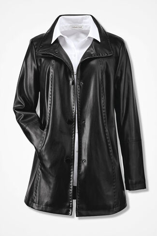 Faux Leather Coat, Black, large