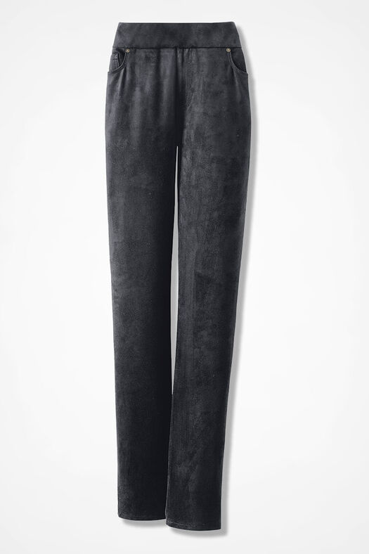 Faux Suede Pull-On Pants, Black, large