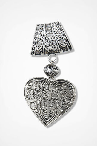 Heart Filigree Scarf Pendant, Silver, large
