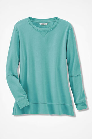 Colorwashed Fleece Pullover, Bright Aqua, large