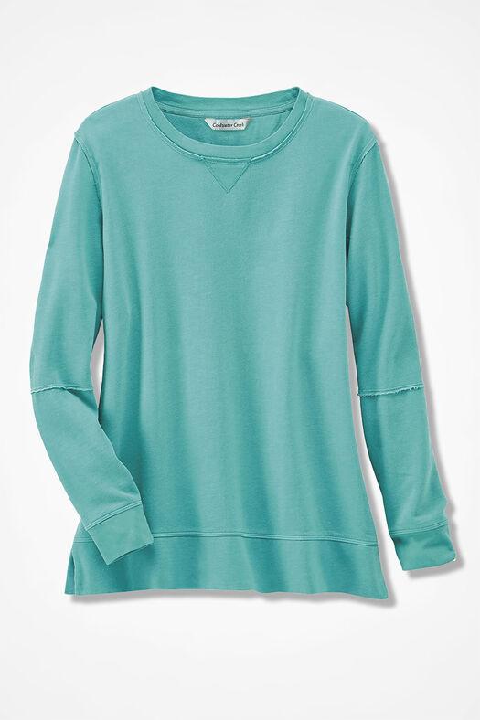 Colorwashed Fleece Pullover, Bright Aqua, large