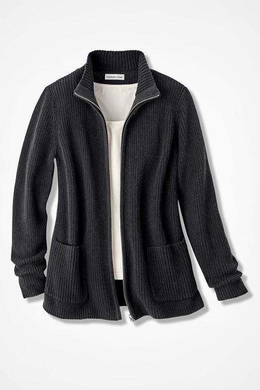 Shaker Zip-Front Cardigan, Black, large