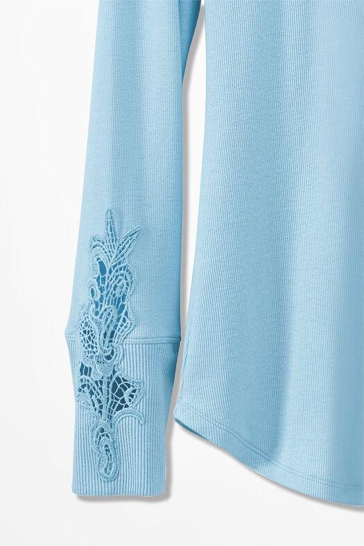 Embroidered Henley PJ Top, Porcelain Blue, large