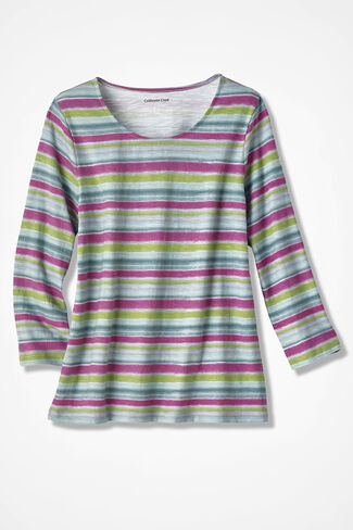 Striped Everyday Vintage Look Tee, Multi, large