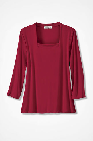 Destinations II Square Neck Top, Dover Red, large
