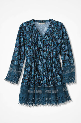 Hues in Blues Print Gracious Lace Blouse, Peacock Multi, large