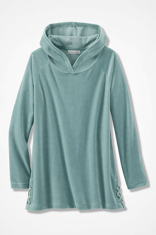 Velour du Jour Side-Laced Hooded Pullover, Aqua, large