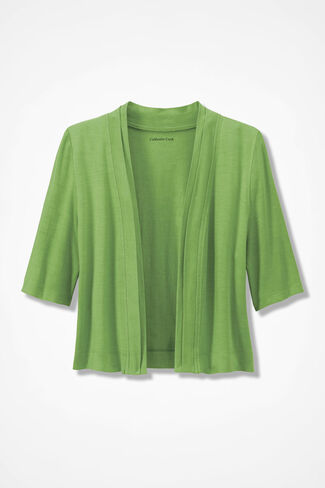 Double Border Jersey Shrug, Mountain Green, large