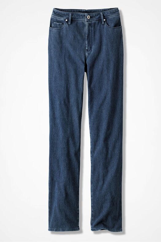 Knit Denim Straight-Leg Jeans, Medium Wash, large