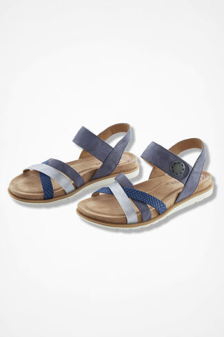 """""""Alonsa"""" Leather Sandals by Comfortiva®, Blue, large"""