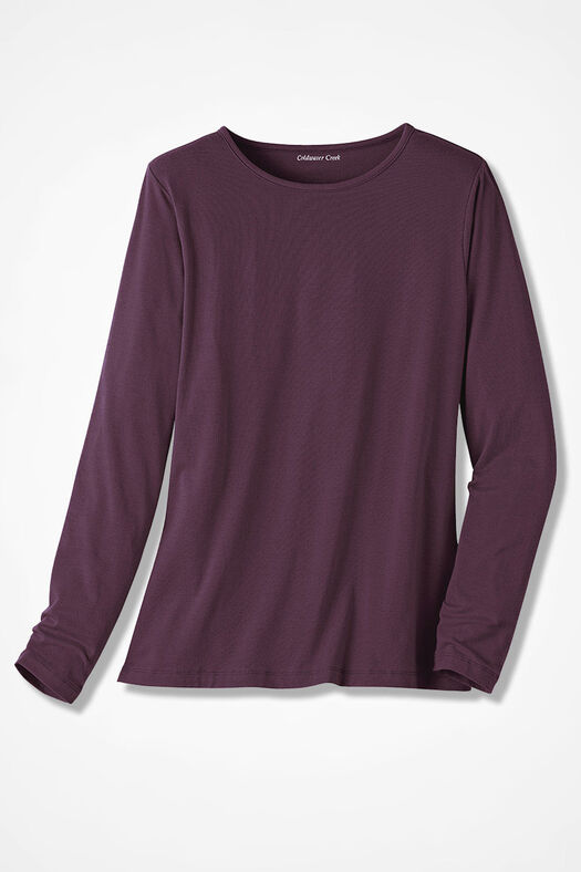 PrimaKnit® Crewneck Tee, Blackberry, large