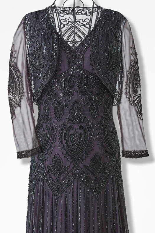Nocturne Beaded Bolero Dress by Pisarro Nights, Eggplant, large
