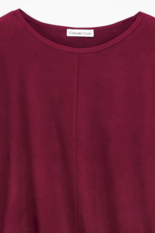 Suede-Touch Stretch Tee, Brick, large