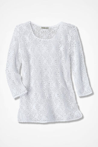 Crochet Confection Sweater, White, large