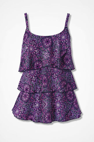 Diamond Medallion Ruffled Tankini Top, Multi, large