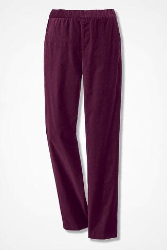 Pull-on Velveteen Pants, Wine, large