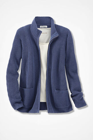 Shaker Zip-Front Cardigan, Ranch Blue, large