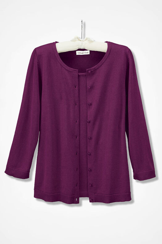 Three-Quarter Sleeve Classic Cardigan, Mulberry, large
