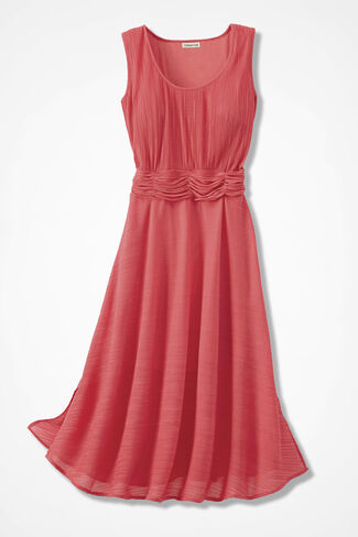 Serendipity Pleated Dress, Coral Rose, large