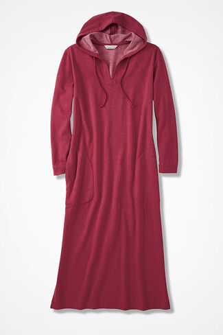 Hooded Fleece Lounger, Dover Red, large