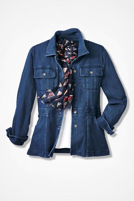 Urban Trails Knit Denim Jacket, Medium Wash, large