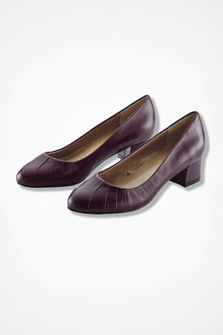 """Uptown"" Leather Pumps by Walk with Me™, Blackberry, large"