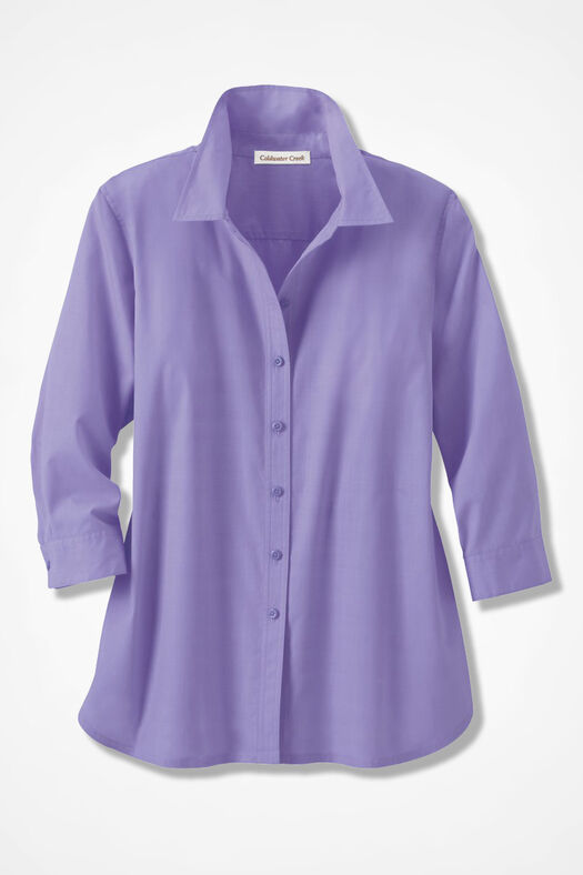 Three-Quarter Sleeve Easy Care Shirt, Lavender, large