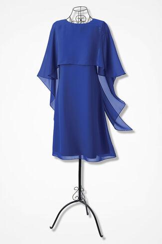 Charisma Chiffon Capelet Dress, Sapphire, large