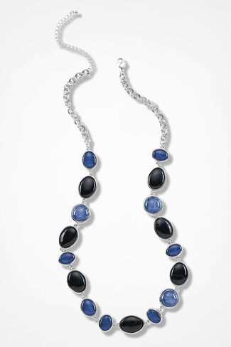 Blue Treasures Cabochon Necklace, Blue Multi, large