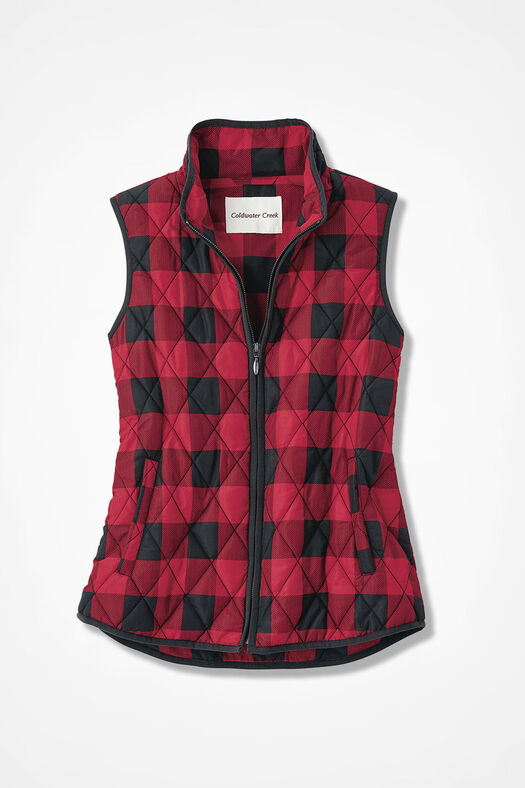 Buffalo Plaid Vest for All Seasons, Black/Fresh Red, large