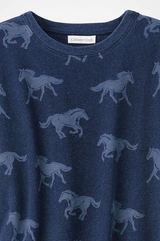Wild Horses Sweatshirt, Ranch Blue, large