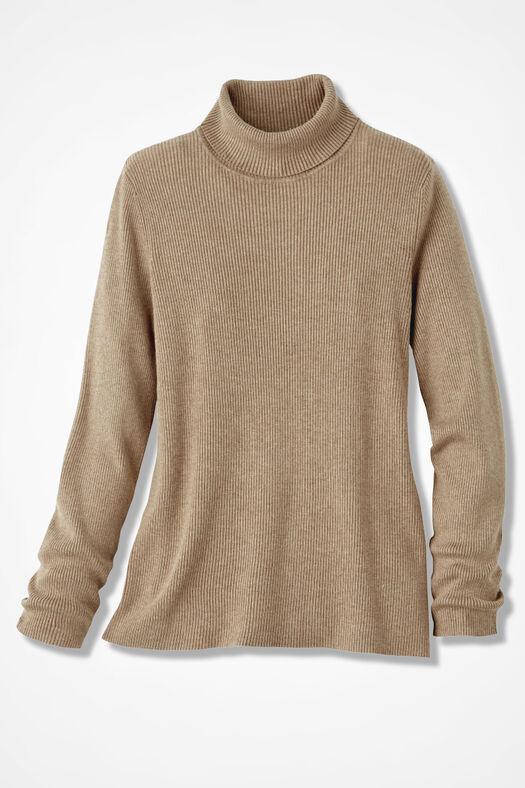 Ribbed Turtleneck Sweater, Light Camel Heather, large