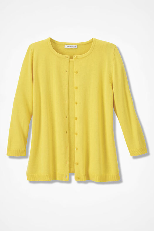 Three-Quarter Sleeve Classic Cardigan, Canary Yellow, large