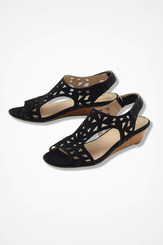 """""""Sienna""""  Leather and Suede Wedge Sandals by Me Too®, Black, large"""