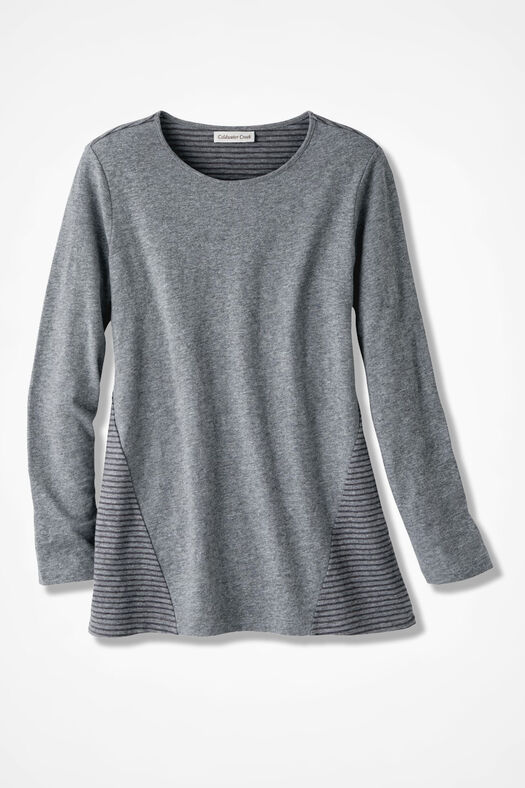 Stripe Surprise Tunic, Mid Heather Grey, large