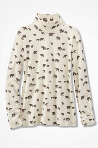 Elephant Love Stand-Neck Cotton Tee, Ivory Multi, large