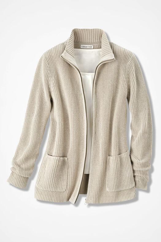 Shaker Zip-Front Cardigan, Alabaster, large