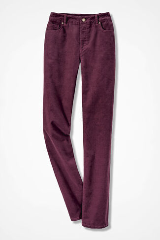 Pinwale Stretch Corduroys, Wine, large