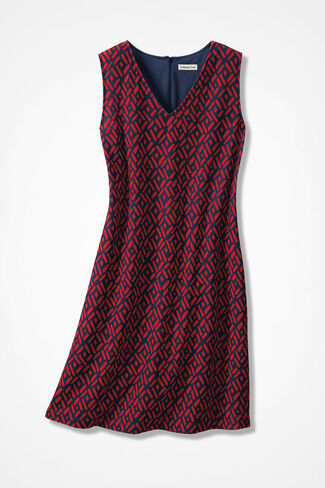 Dotted Diamonds Knit Dress, Navy Multi, large