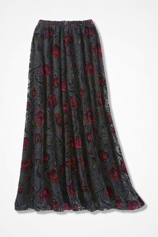 Burnout Velvet Maxi Skirt, Black Multi, large