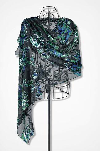 Sheer Drama Velvet Shawl, Black/Sapphire, large